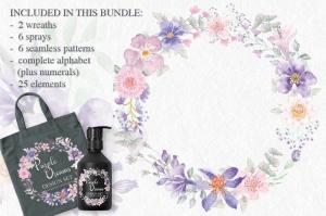 紫色梦幻水彩花卉图案设计素材包 Purple Dreams Watercolor Design Set插图3
