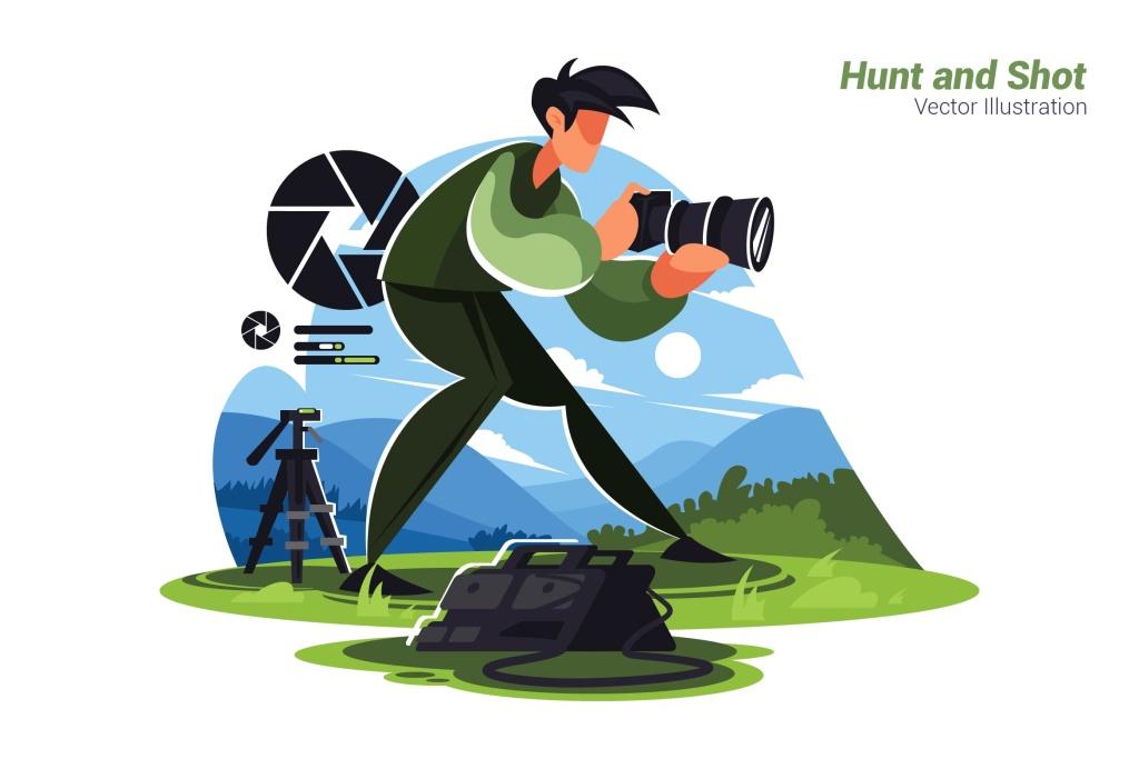 动物摄影矢量概念插画设计素材 Hunt and Shot – Vector Illustration插图