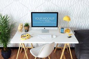 苹果一体机桌面显示样机模板 iMac Mockup (7 PSD) + Bonus插图5