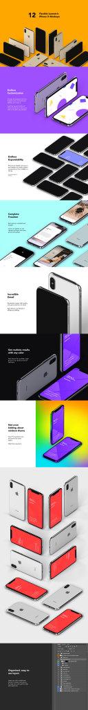 一流设计素材网下午茶:质感超强的多角度iPhone X APP UI设计展示模型Mockups下载[PSD]插图