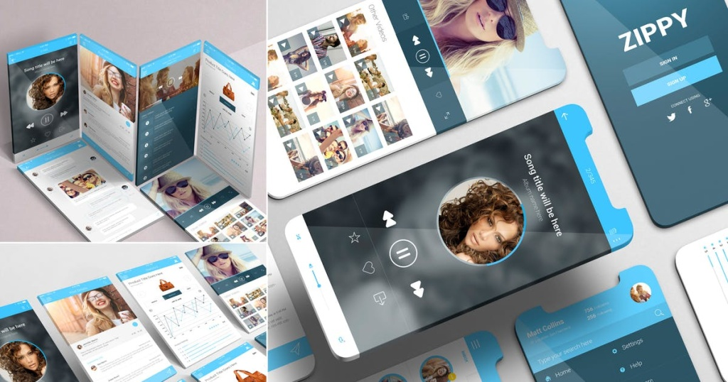 APP界面设计效果图iPhone手机样机模板 iPhone App Mockups插图