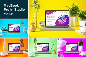 时尚高端渐变绚丽色彩的MacBook Pro UI样机展示模型mockups插图1