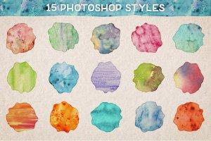炫彩漂亮水彩效果PS样式Vol.1  Watercolor Photoshop Styles Volume 1插图3