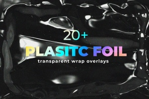 塑料伸缩膜包装效果图PSD分层模板 Plastic Foil Wrap Overlays插图1