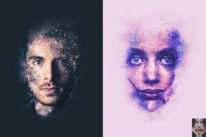 8款照片添加梦幻烟雾效果PSD分层模板 Artistic Smoke Portrait Psd Photo Effect Templates插图5
