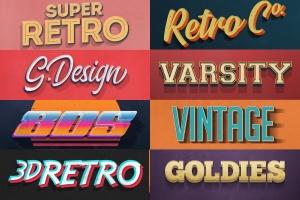 复古设计风格3D立体字体样式PSD分层模板v7 Vintage Text Effects Vol.7插图13