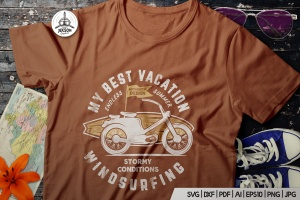 复古冲浪图案T恤印花设计素材 Surfing Retro Graphics Prints TShirt, Summer Label插图1