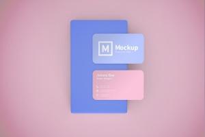 圆角设计风格企业名片设计效果图样机 Business Card Mockup Rounded Corner插图2