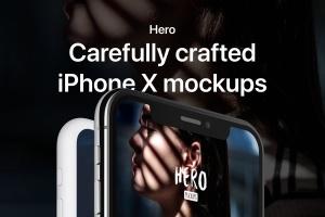 高质量黑色iPhone X设备样机模板 HERO Phone X Mockups插图1