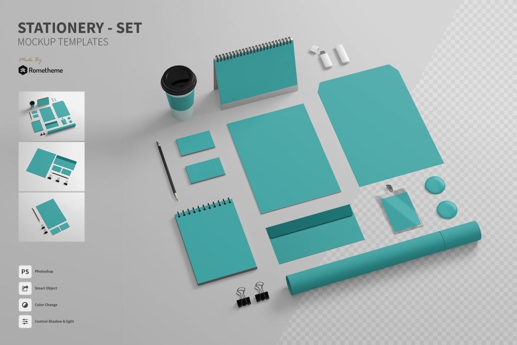 品牌VI视觉设计效果预览办公用品套件样机 Branding / Stationery – Mockups FH插图