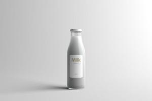 玻璃牛奶瓶牛奶品牌Logo设计展示样机模板 Milk Bottle Packaging Mock-Up插图4