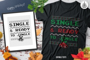 圣诞叮当毛衣T恤印花手绘图案设计素材 Christmas Jingle Sweater T-Shirt Xmas Retro Party插图1