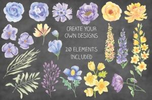 夏天花卉水彩手绘装饰框&设计元素PNG素材 Summer Flowers: Border and Elements in Watercolor插图3