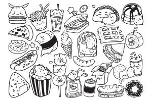 快餐美食涂鸦手绘矢量图案素材 Fast Food Doodle Vector插图2