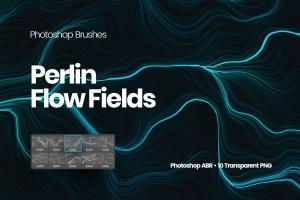 10款高分辨率抽象数流体线条PS笔刷 Digital Perlin Flow Fields Photoshop Brushes插图1