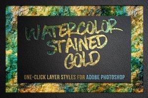 创意水彩金箔PS图层样式[1.1GB] Watercolor and Gold Layer Styles PS插图1