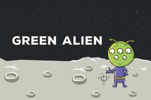 绿色外星人矢量插画设计素材 Green Alien Vector Illustration插图1