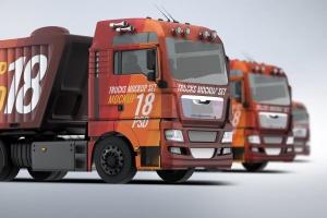 半挂车半挂卡车外观喷漆图案样机模板 Trucks Mock-Up插图1