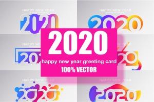 2020新年数字彩色矢量设计图形素材 2020 Happy New Year Greeting Card插图1