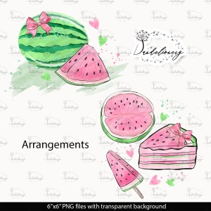 粉色西瓜瓣水彩剪贴画PNG素材 Watercolor Pink Watermelon Clipart插图2