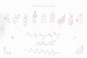 浅灰暗色调花卉元素Photoshop笔刷 Floral Watercolor Photoshop Brushes插图7