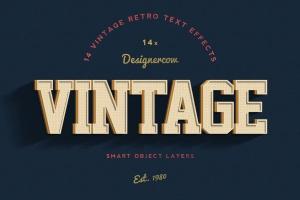 14个复古风格立体特效PS字体样式 14 Vintage Retro Text Effects插图1