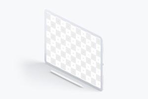 iPad Pro黏土陶瓷材质平板电脑屏幕演示左视图样机03 Clay iPad Pro 12.9 Mockup, Isometric Left View 03插图2