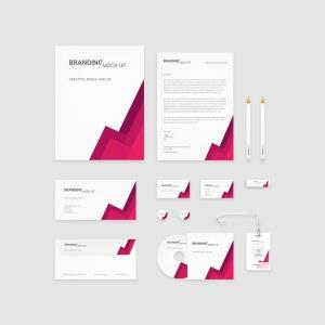 企业VI标识设计预览办公用品套件样机 Branding Identity – Material Triangle for Psd插图2