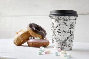 咖啡甜品牌样机模板 Coffee Doughnut Mockup插图1
