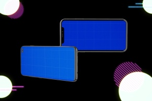 高质量霓虹灯风格iOS/Android手机样机模板 Neon IOS & Android插图12