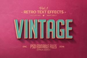 经典复古文本图层样式v1 Vintage Text Effects Vol.1插图2