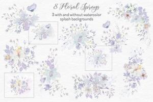 烟灰色水彩花卉手绘图案PNG素材 Smoky Grey Florals Watercolor Design Set插图4