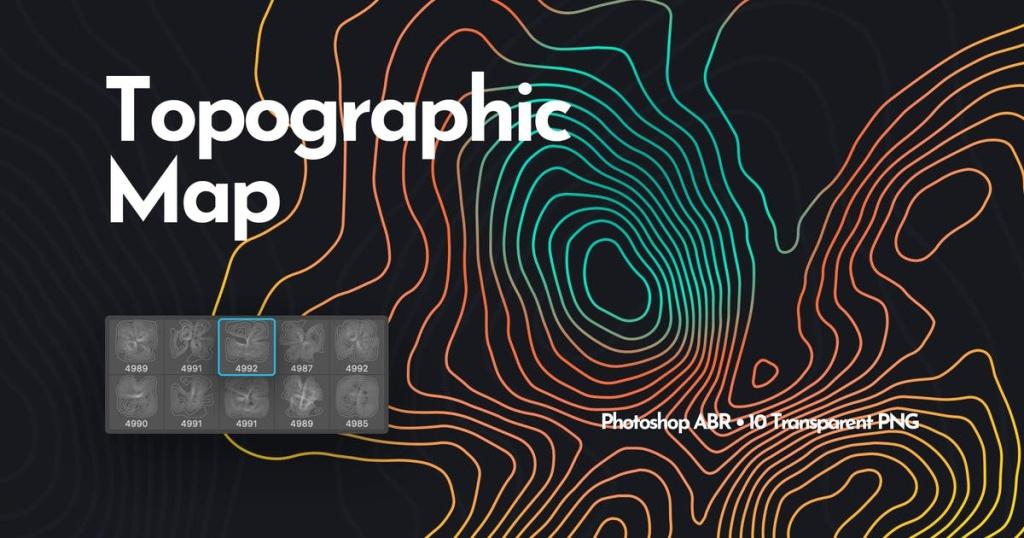 地形地图图形绘制PS笔刷 Topographic Map Photoshop Brushes插图