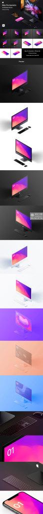 精品:高品质多角度 iMac Pro 电脑样机模型 [PSD]