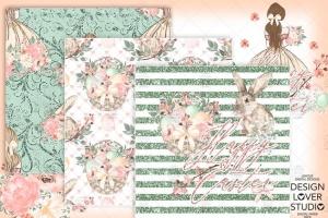 复活节快乐女孩水彩花卉剪贴画套装 Happy Easter Girl digital paper pack插图5