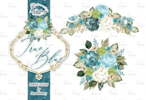 逼真蓝色水彩花卉手绘剪贴画PNG素材 Watercolor True Blue design插图2