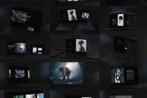 黑色超级笔记本屏幕预览样机模板 Black Laptop Mockup插图1