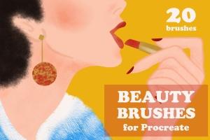 插画师必备的复古时尚美容Procreate笔刷 Beauty Brushes for Procreate插图(1)