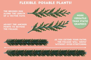 逼真植物花卉图案AI笔刷 The Vector Florist – Brushes: Winter插图(7)