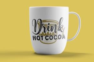 热可可饮料矢量插画圣诞节主题T恤印花设计模板 Drink Hot Cocoa Christmas Vector T-Shirt SVG, Tee插图3