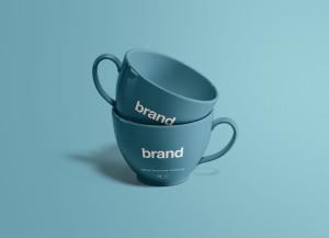 茶杯瓷杯外观设计效果图样机 Tea Cups Mockup插图1