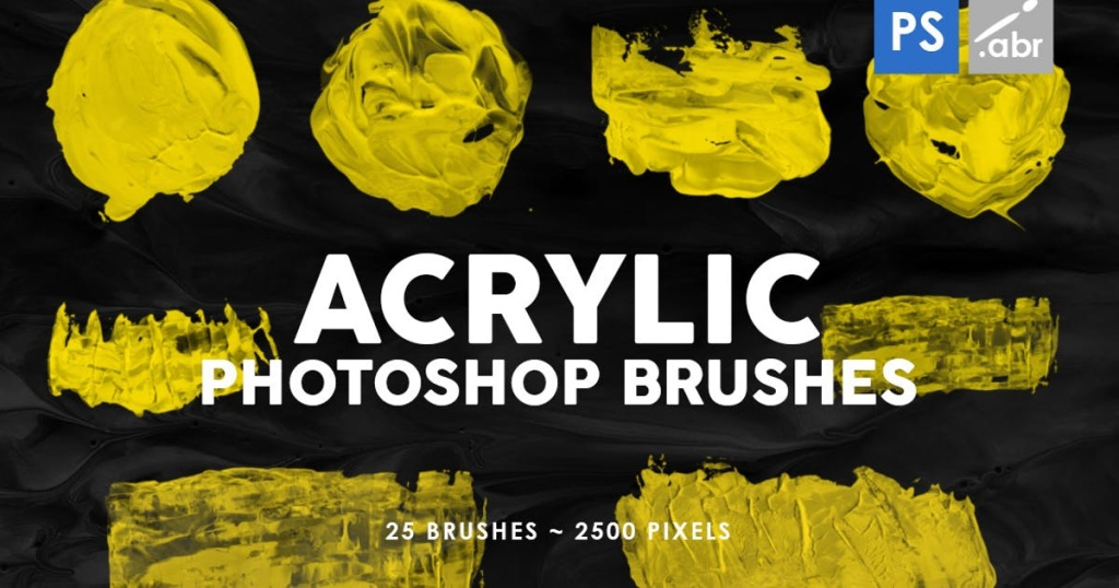 26款亚克力颜料形状PS图案印章笔刷 26 Acrylic Shapes Photoshop Stamp Brushes插图
