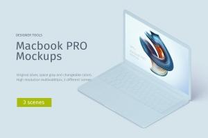 MacBook Pro等距创意样机模板 Macbook PRO Isometric Creative Mockup插图1