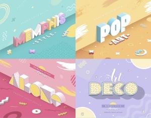 3D孟菲斯风格海报标题字体PS图层样式 Memphis Style – Text Effects插图2