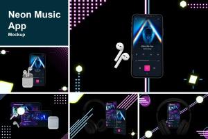 在线音乐APP设计效果图样机模板 Neon Music App MockUp插图1