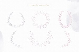 浅灰暗色调花卉元素Photoshop笔刷 Floral Watercolor Photoshop Brushes插图2