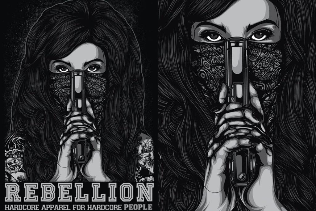 杀手女郎手绘印花图案设计素材 Rebellion插图
