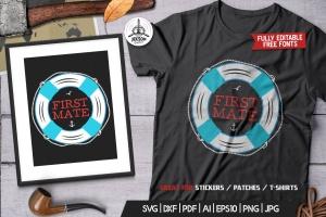 复古航海徽章/冒险标签/T恤印花设计 Retro Nautical Badge, Adventure Label TShirt Print插图1