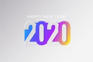 2020新年数字彩色矢量设计图形素材 2020 Happy New Year Greeting Card插图4