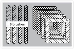 8款绳索缆绳AI笔刷套装 8 Nautical Rope Brush Set插图2